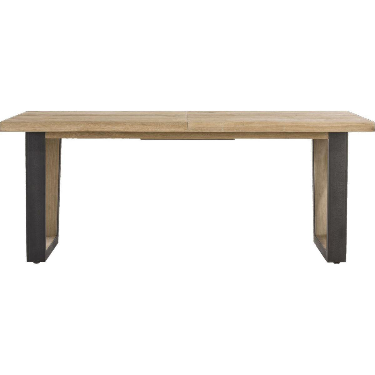 Table à rallonge 100x160cm/+50cm METALOX HetH pieds V métal-bois