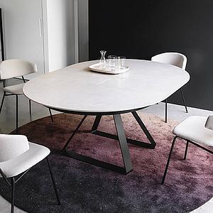 Table à rallonge 127cm ATLANTE Calligaris céramique sel