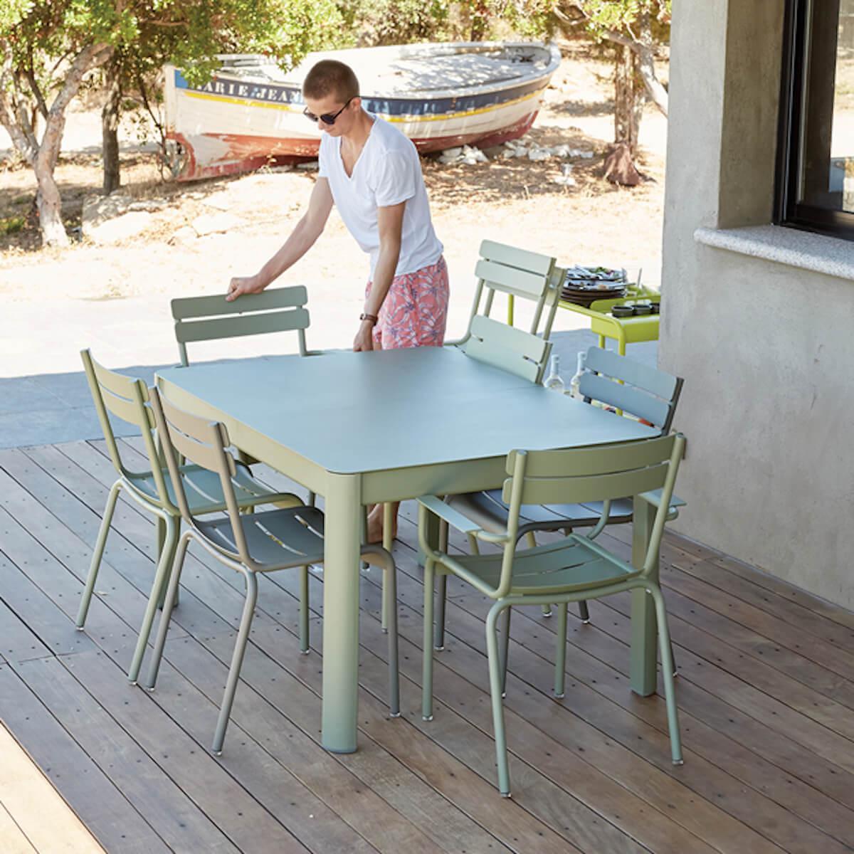 Table à rallonge 149/191x100cm RIBAMBELLE Fermob vert opaline