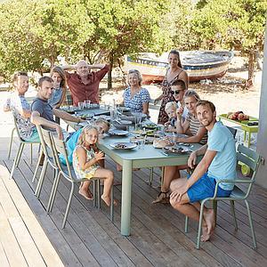Table à rallonge XL 149/299x100cm RIBAMBELLE Fermob gris argile