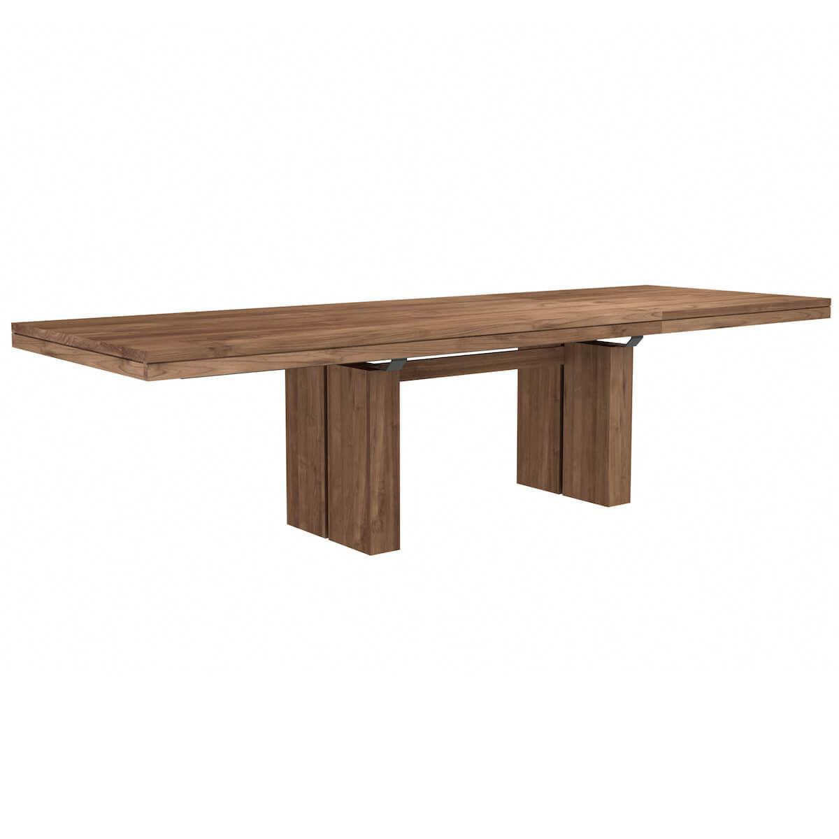 Table à rallonges 100x200/300cm DOUBLE Ethnicraft teck