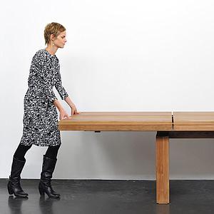 Table à rallonges 100x200/300cm DOUBLE Ethnicraft teck
