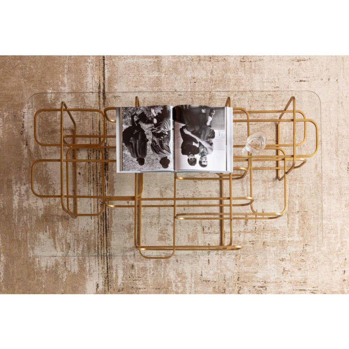 Table basse 140x80cm MEANDER Kare Design doré