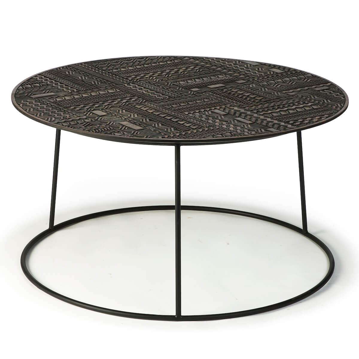 Table basse ronde 83cm TABWA Ethnicraft teck noir