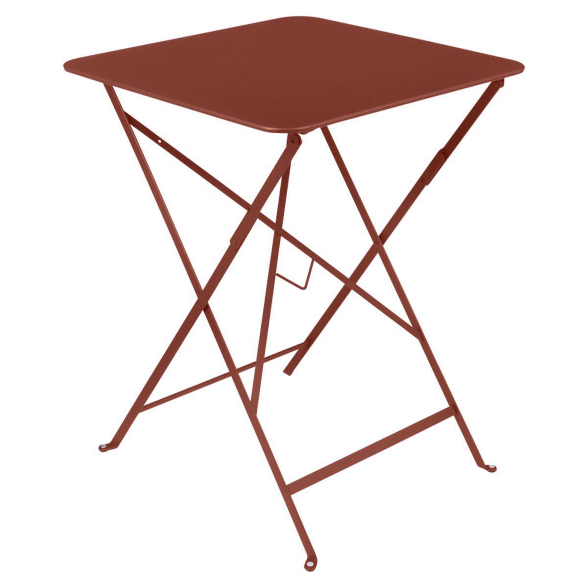 Table carrée BISTRO Fermob 57x57 rouge ocre