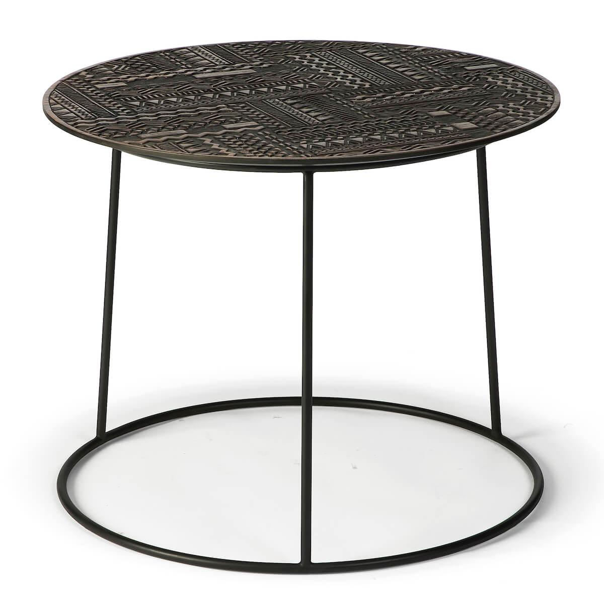 Table d'appoint ronde 65cm TABWA Ethnicraft teck noir