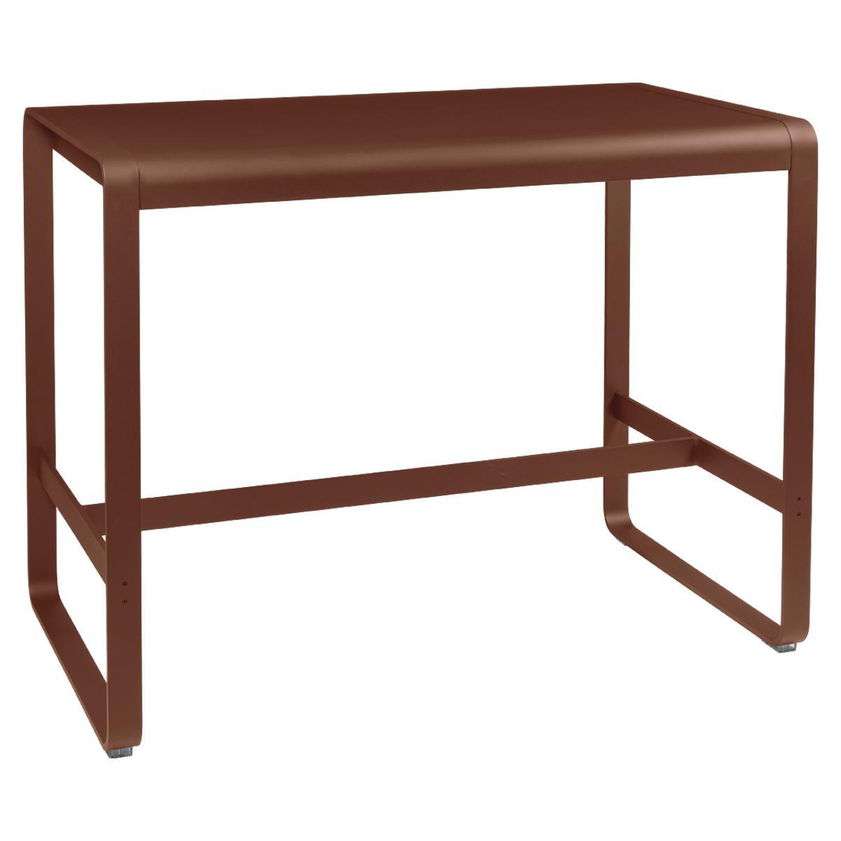 Table haute 80x140cm BELLEVIE Fermob rouge ocre