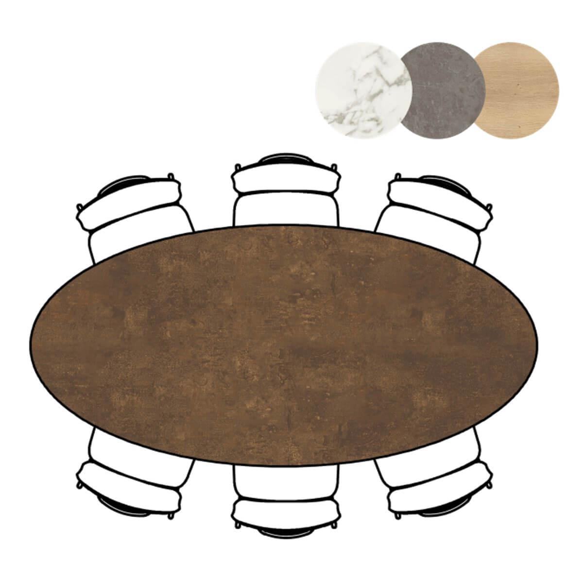 Table ovale 105x220cm MASURA Xooon rouille