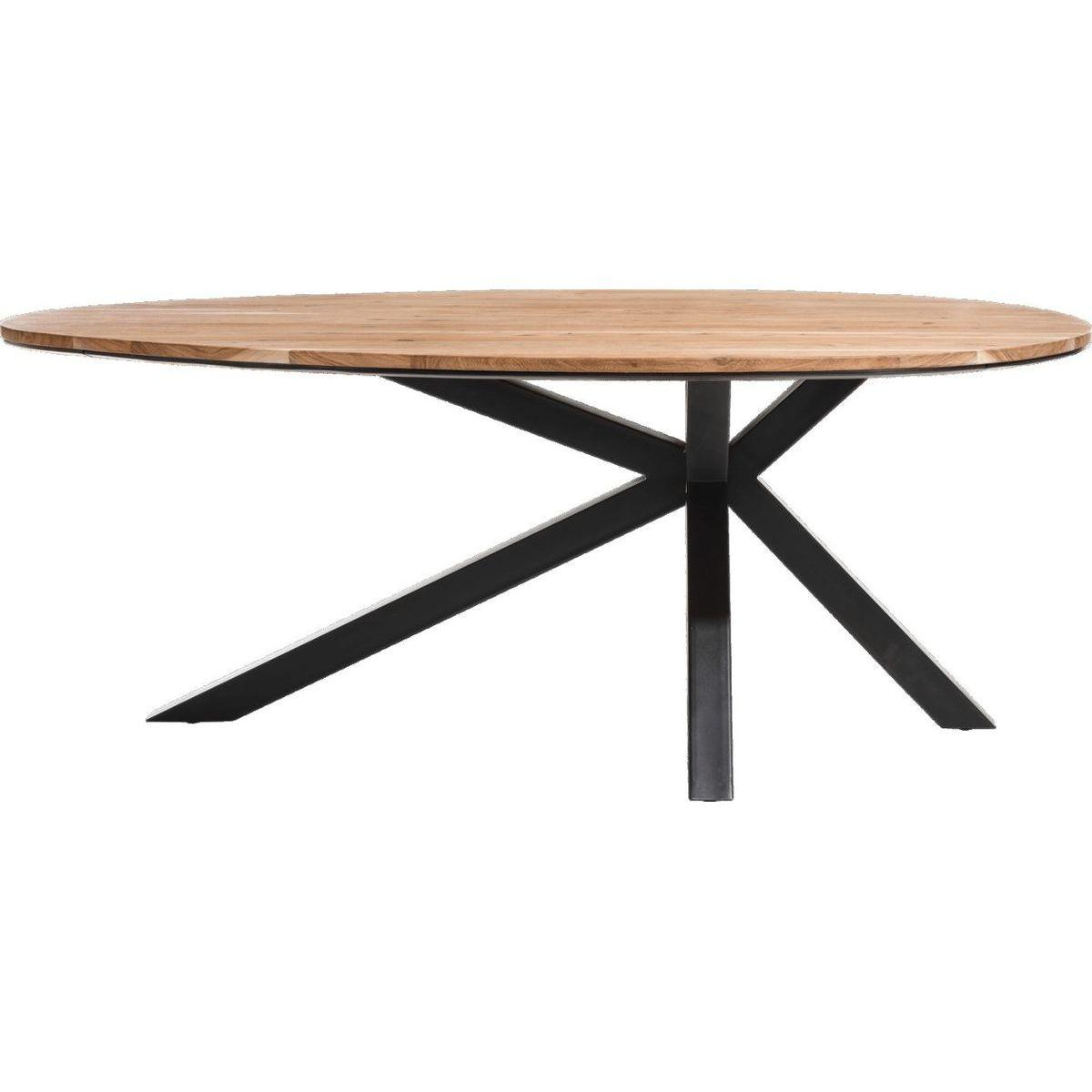 Table ovale colombo xooon bois kikar smoked 200x120cm for Table haute ovale