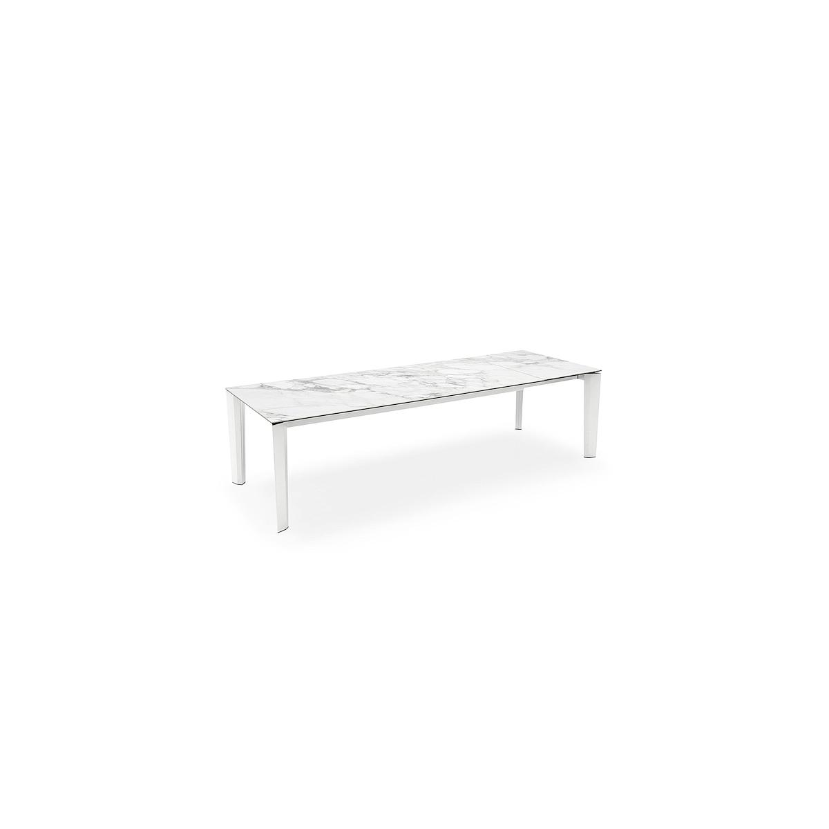 Table rectangulaire extensible DELTA Calligaris céramique-verre Marbre blanc