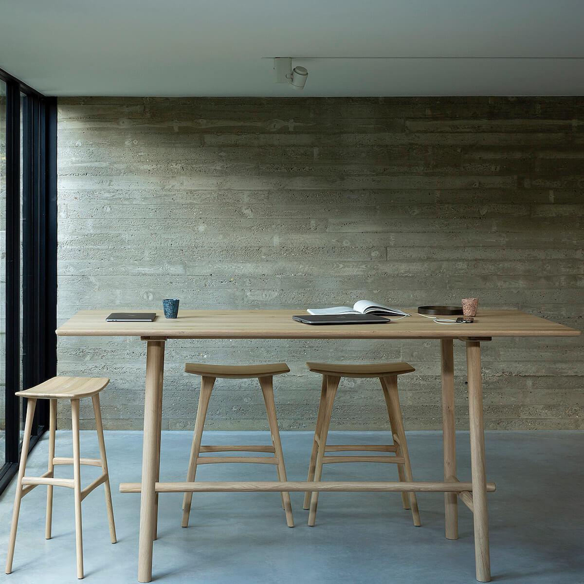 Table réunion haute 100x220cm PROFILE Ethnicraft chêne
