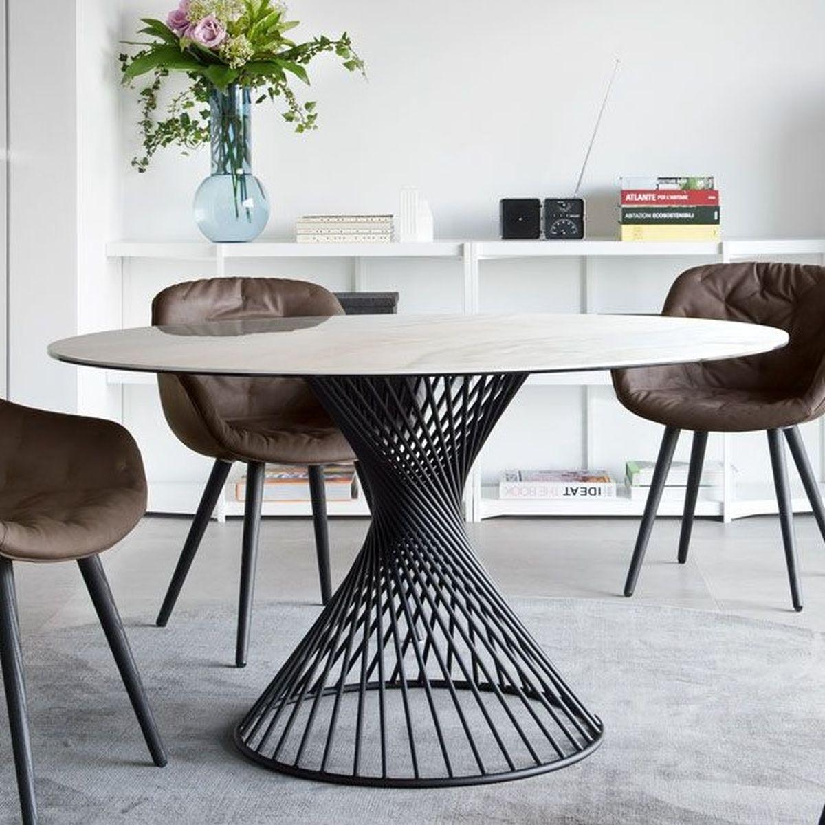 Table ronde VORTEX Calligaris céramique onix or
