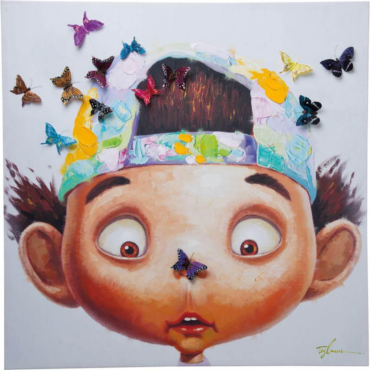 Tableau 100x100cm TOUCHED BOY WITH BUTTERFLYS Kare Design